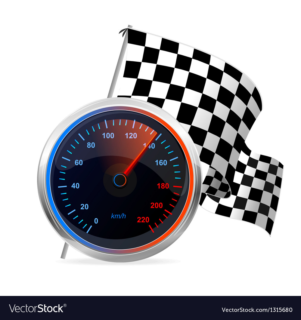 Racing speedometer and checkered flag vector | Price: 3 Credit (USD $3)