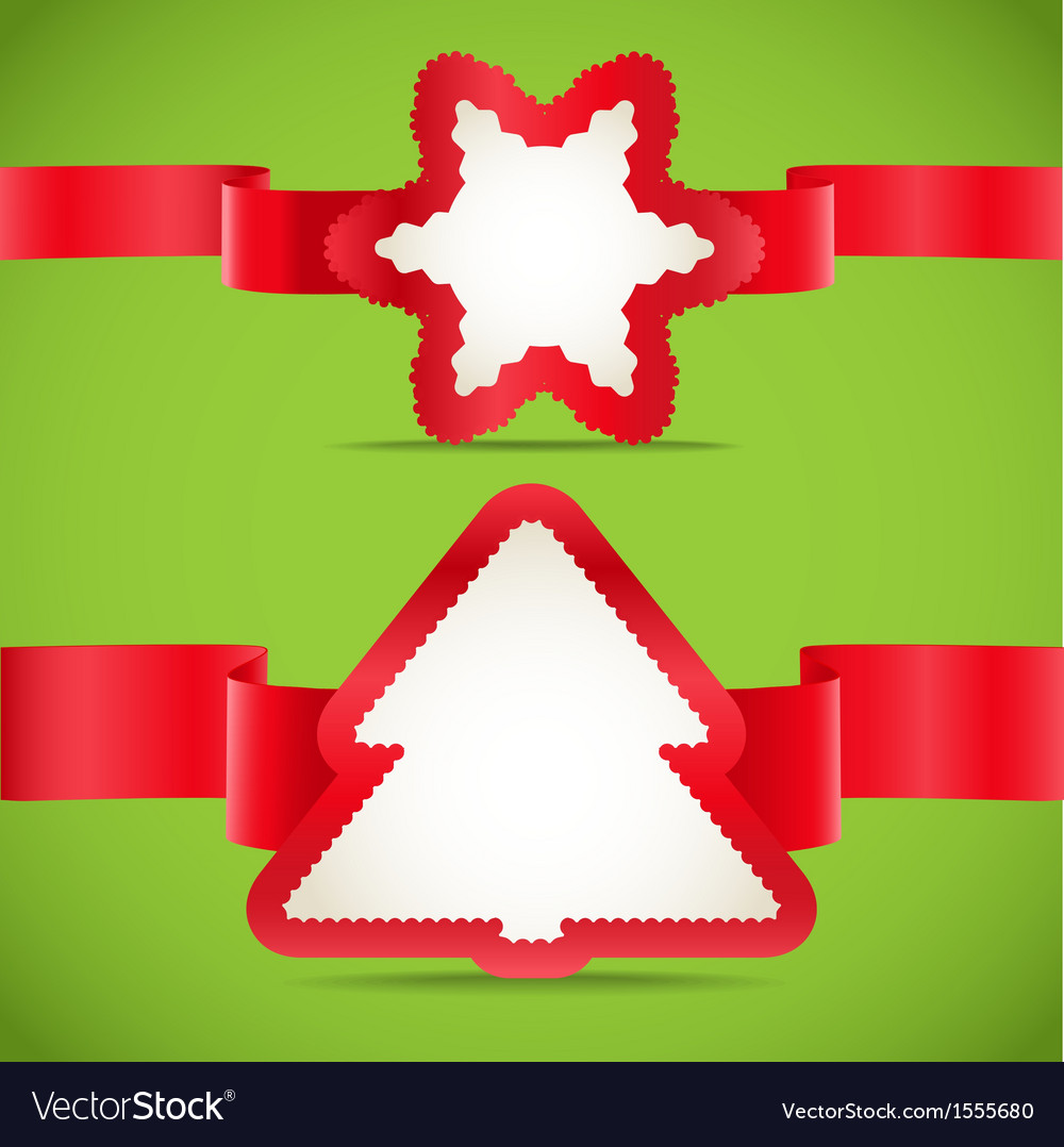 Seasonal greeting cards with red ribbons set vector | Price: 1 Credit (USD $1)
