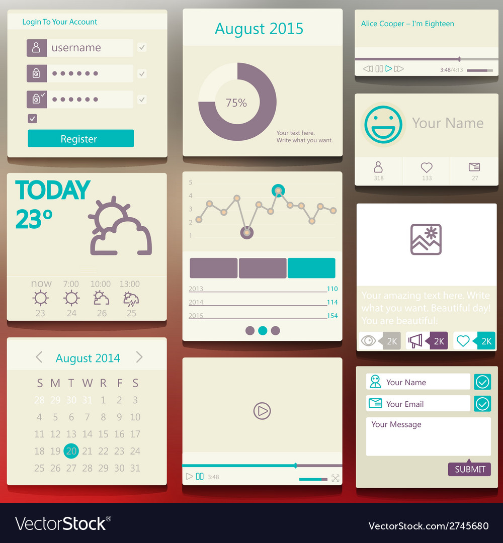 Set elements used for user interface light vector | Price: 1 Credit (USD $1)