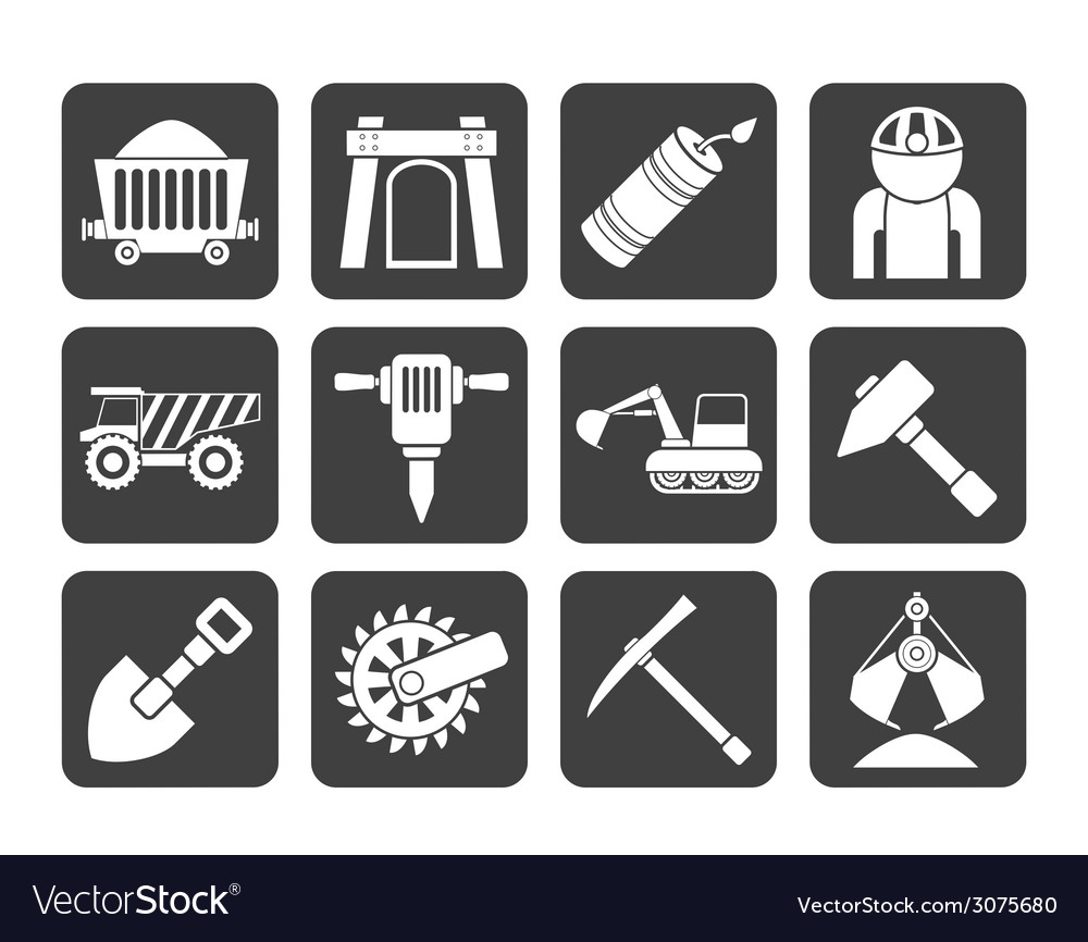 Silhouette mining and quarrying industry objects vector