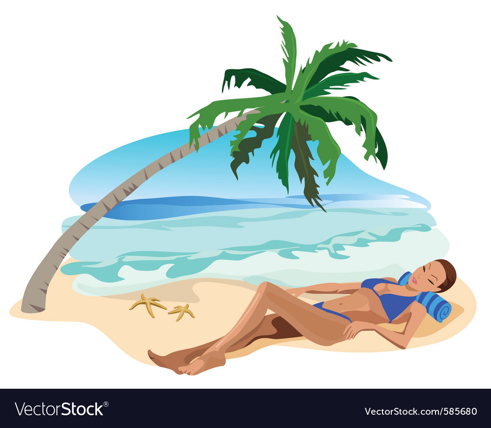 Tropical relax girl vector | Price: 1 Credit (USD $1)