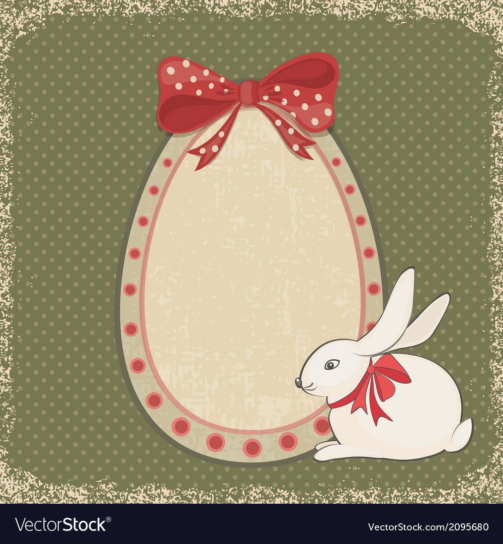 Vintage card with easter bunny and egg form vector | Price: 1 Credit (USD $1)