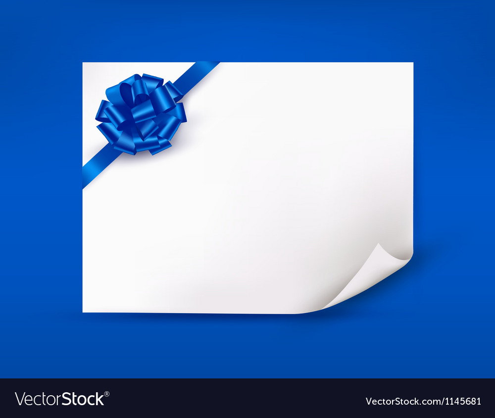 Blue background with sheet of paper and blue gift vector | Price: 1 Credit (USD $1)