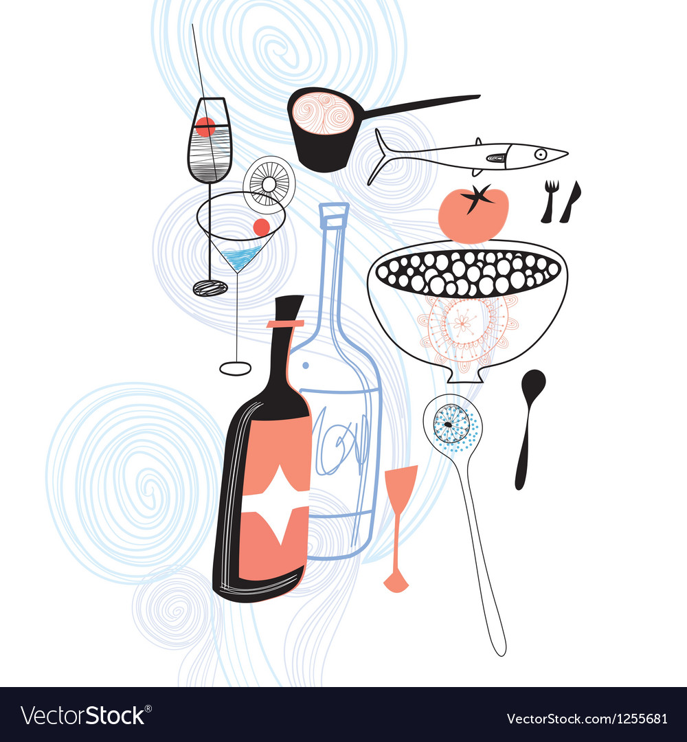 Drinks and food vector | Price: 1 Credit (USD $1)