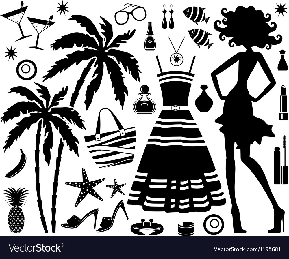 Fashionable set of tropical rest with silhouette o vector | Price: 1 Credit (USD $1)