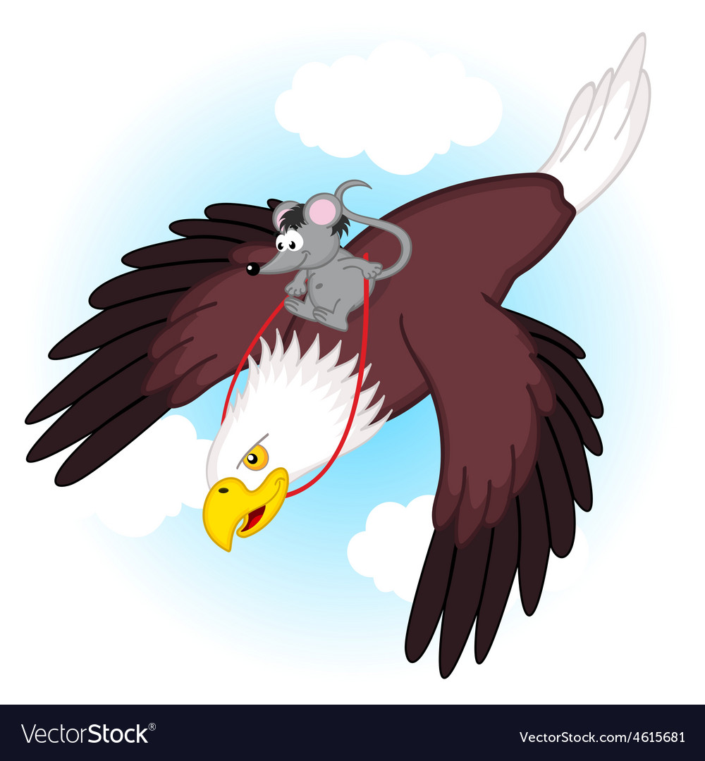 Mouse riding on eagle vector | Price: 3 Credit (USD $3)