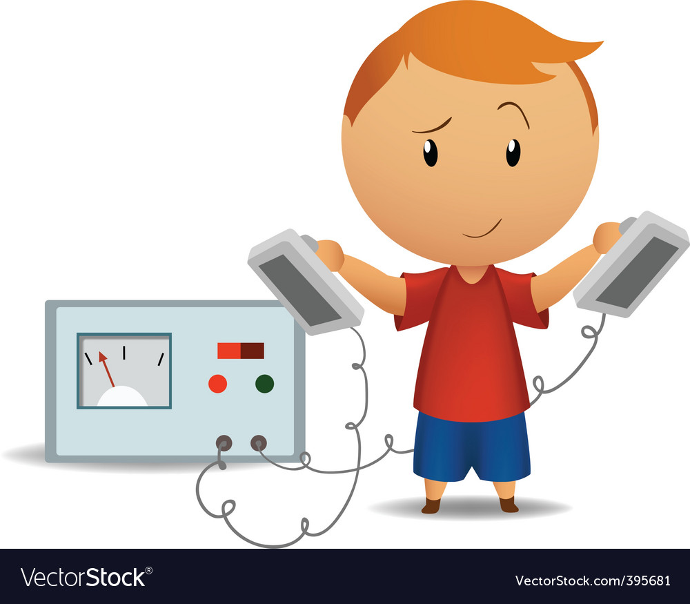Smiling boy with medical defibrillator vector | Price: 1 Credit (USD $1)