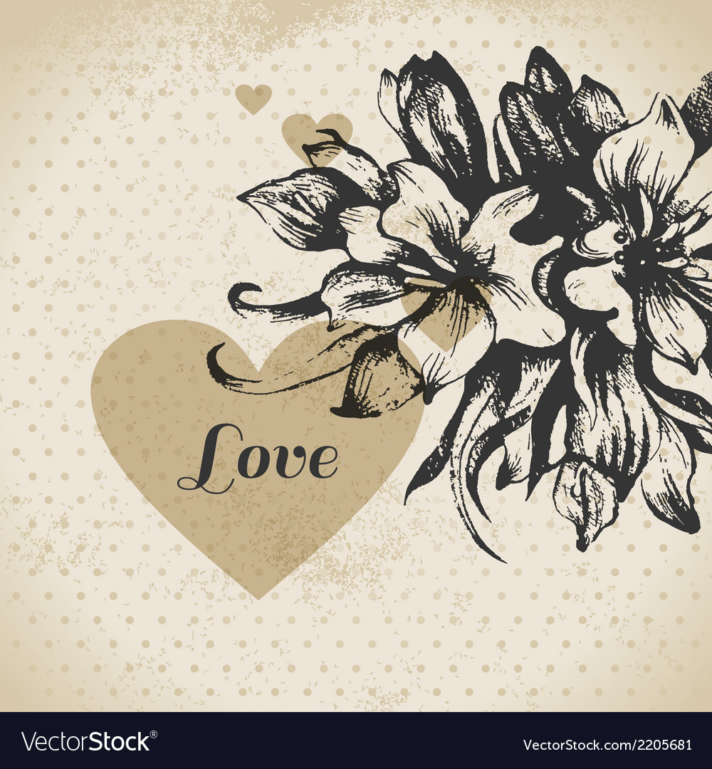 Wedding floral love card vector | Price: 1 Credit (USD $1)