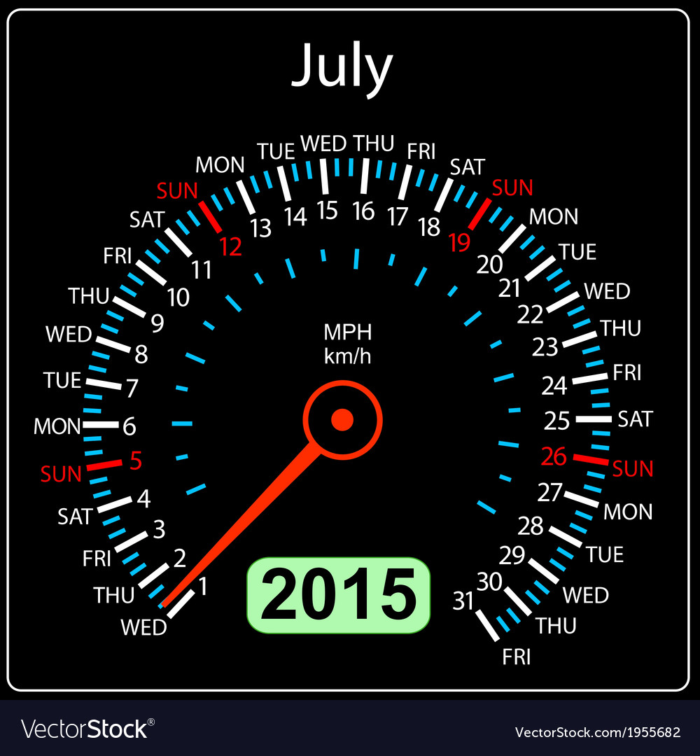 2015 year calendar speedometer car in  july vector   Price: 1 Credit (USD $1)