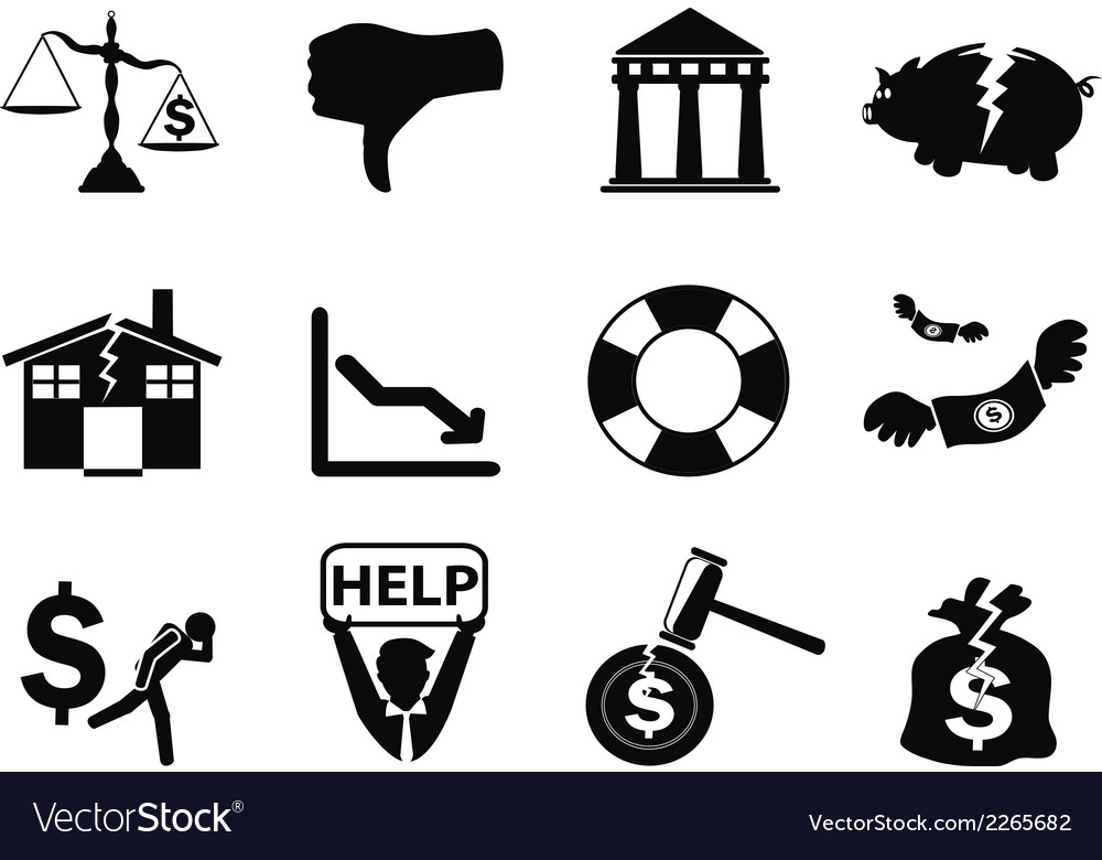 Black bankruptcy icons set vector | Price: 1 Credit (USD $1)