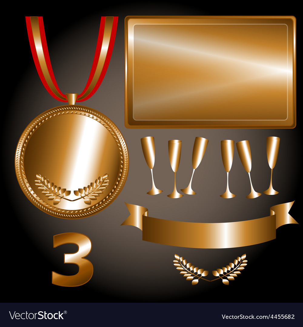 Bronze elements for games and sports vector | Price: 1 Credit (USD $1)
