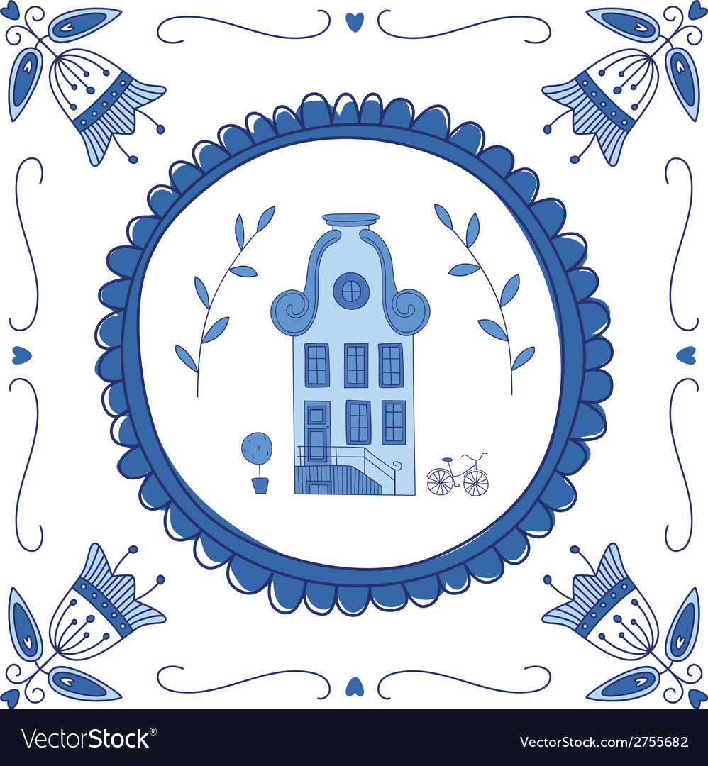Delft blue house vector | Price: 1 Credit (USD $1)