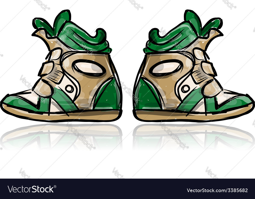 Female sneakers sketch for your design vector | Price: 1 Credit (USD $1)