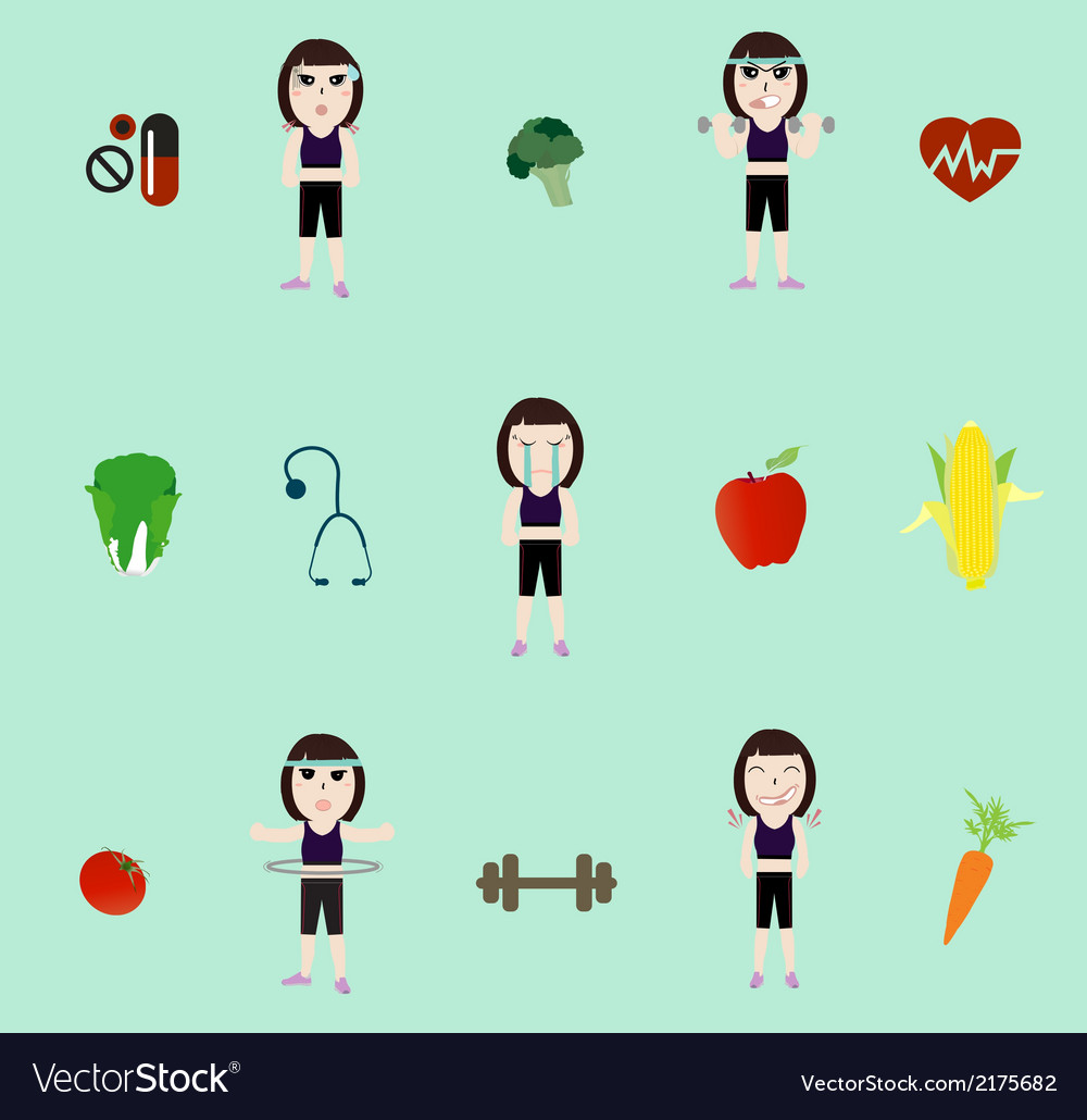 Fitness woman and diet vector | Price: 1 Credit (USD $1)
