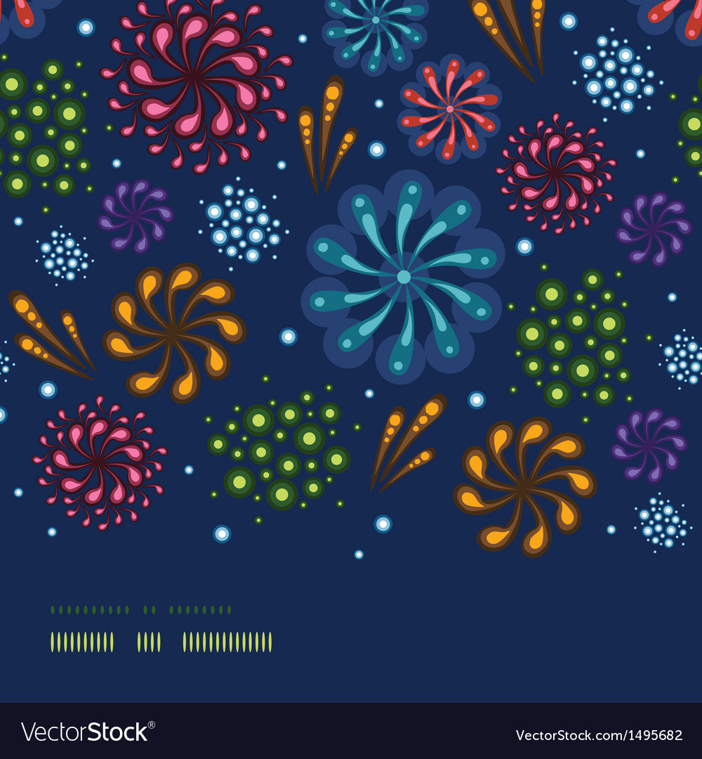 Holiday fireworks horizontal seamless pattern vector | Price: 1 Credit (USD $1)