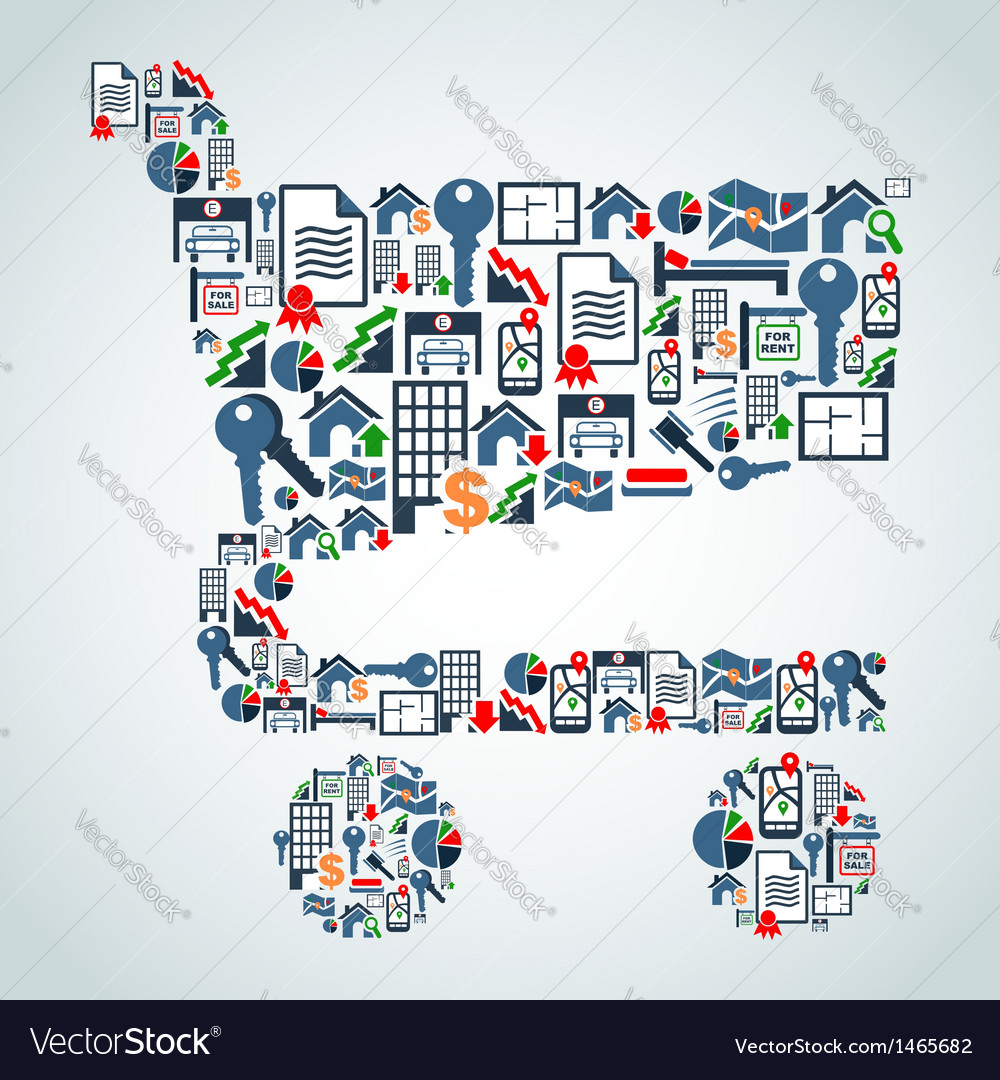 Property service icons shopping cart shape vector   Price: 1 Credit (USD $1)