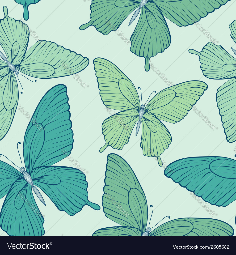 Seamless background with blue butterflies vector | Price: 1 Credit (USD $1)