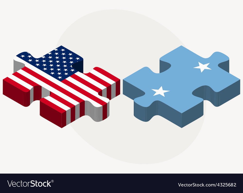 Usa and micronesia flags in puzzle vector | Price: 1 Credit (USD $1)