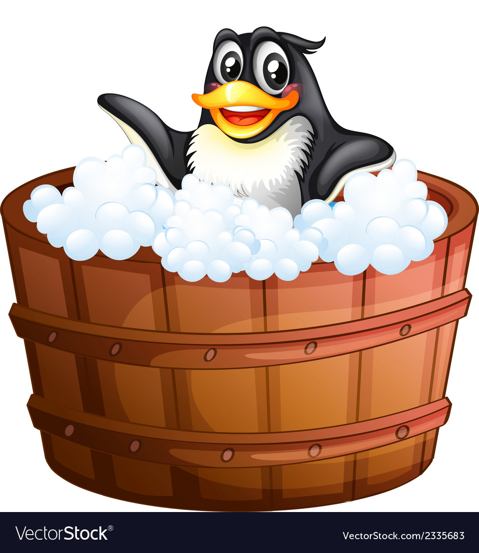 A penguin at the bathtub vector | Price: 1 Credit (USD $1)