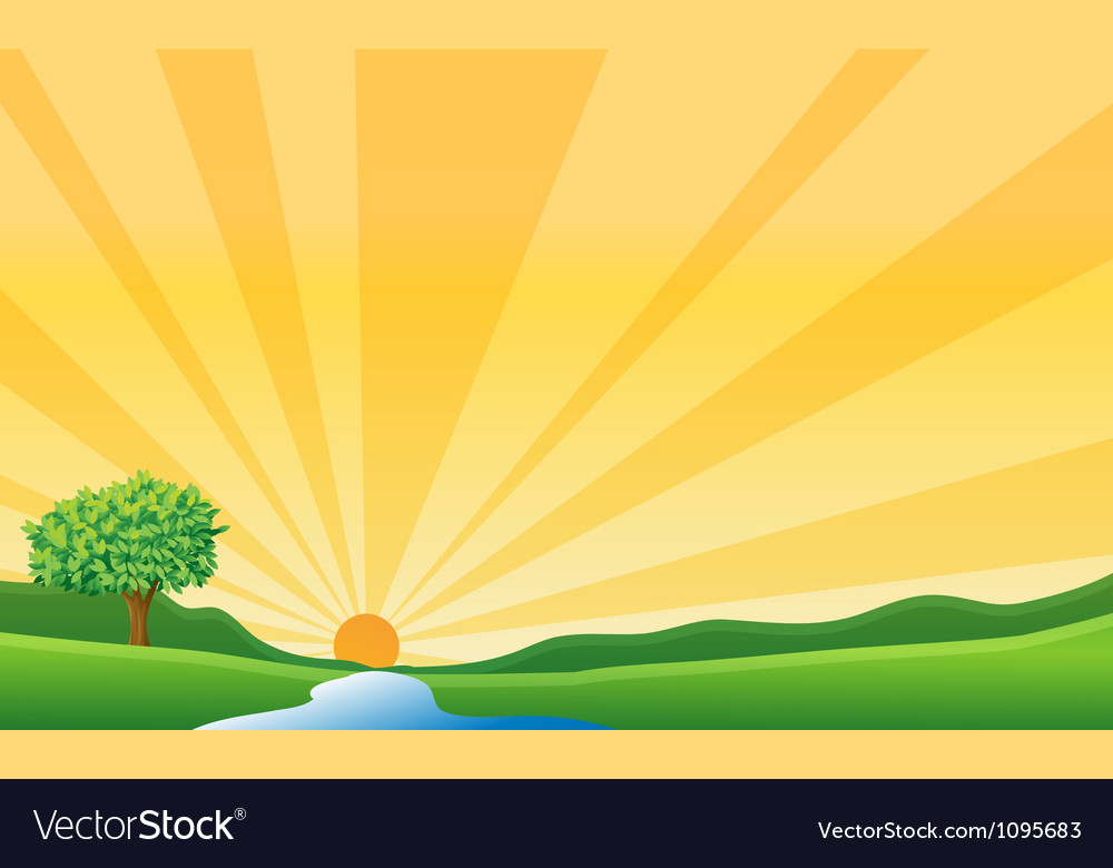 A river and a sun vector | Price: 1 Credit (USD $1)