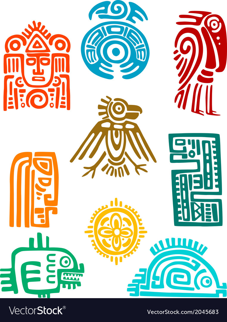 Ancient maya elements and symbols vector | Price: 1 Credit (USD $1)