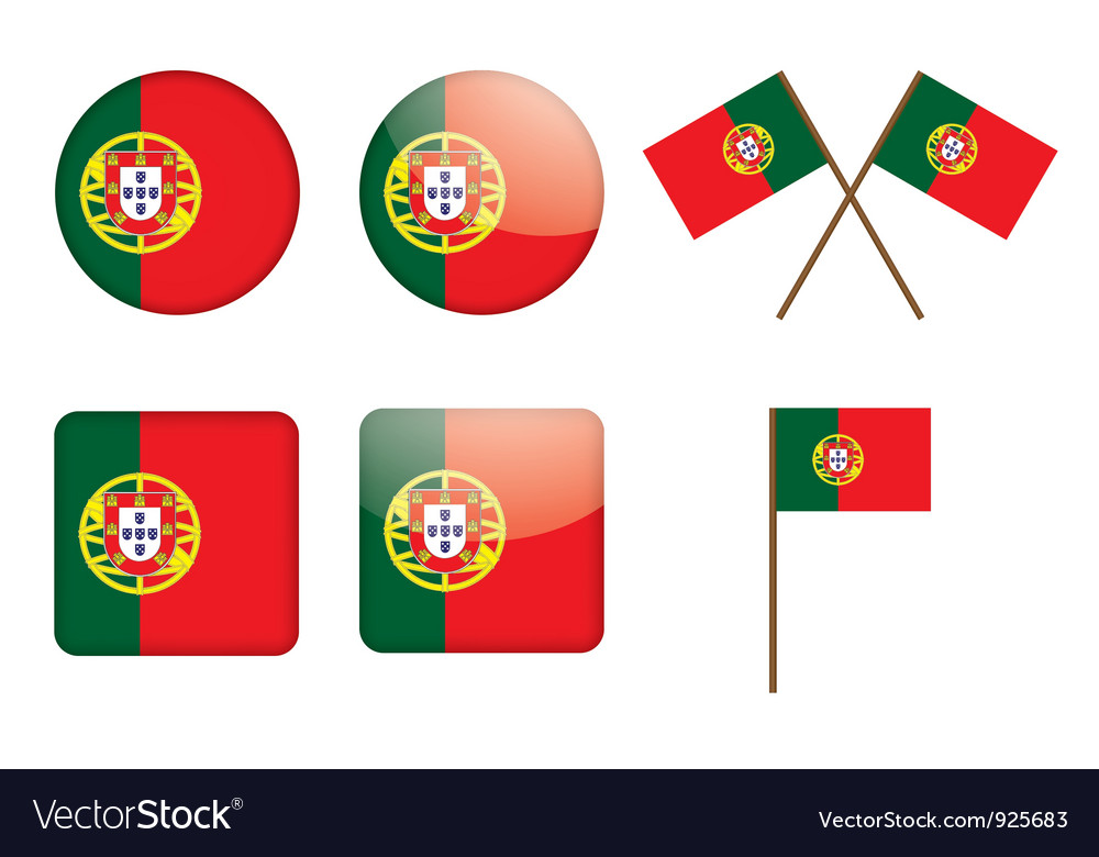 Badges with flag of portugal vector | Price: 1 Credit (USD $1)