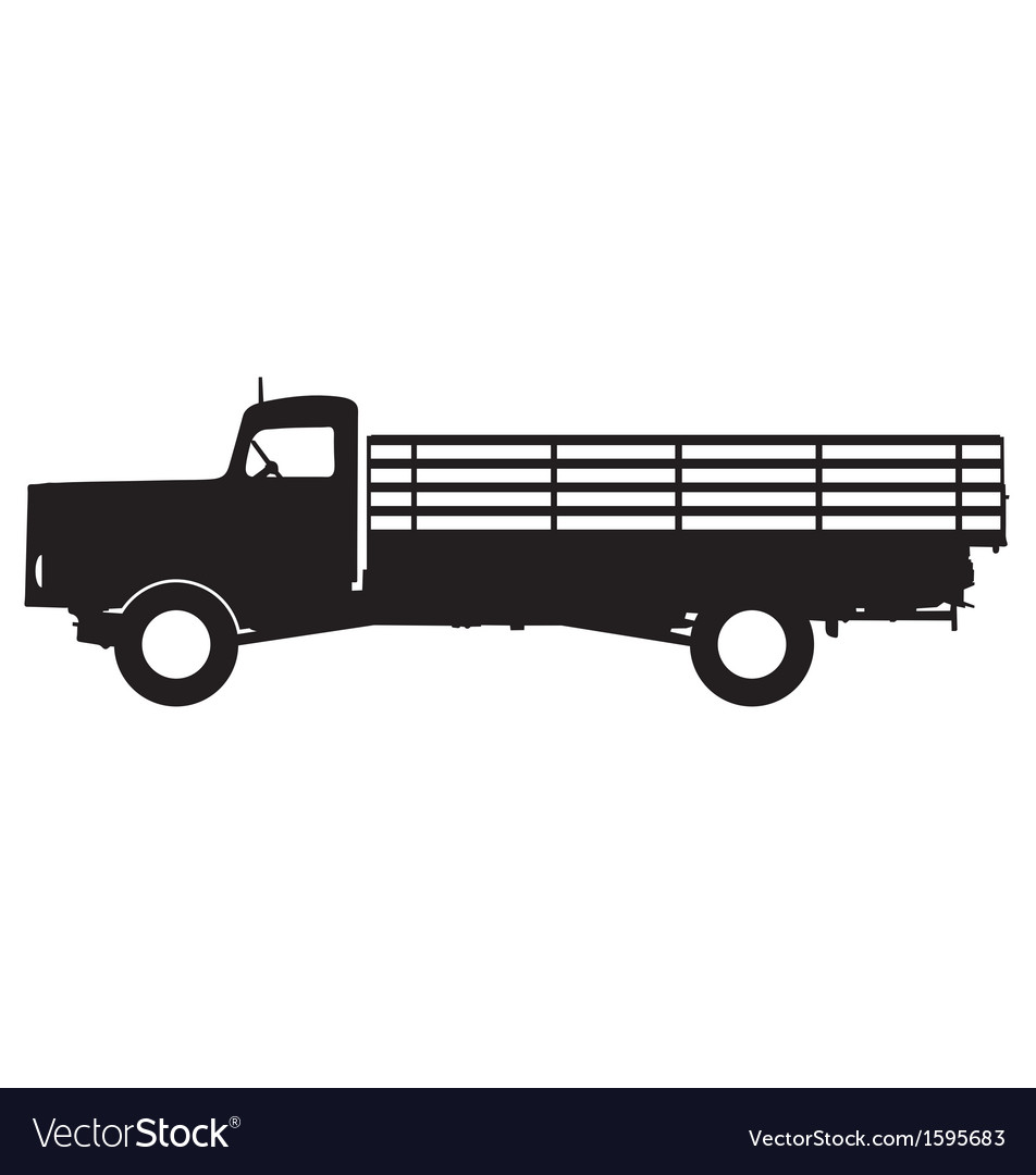 Flatbed truck silhouette vector   Price: 1 Credit (USD $1)