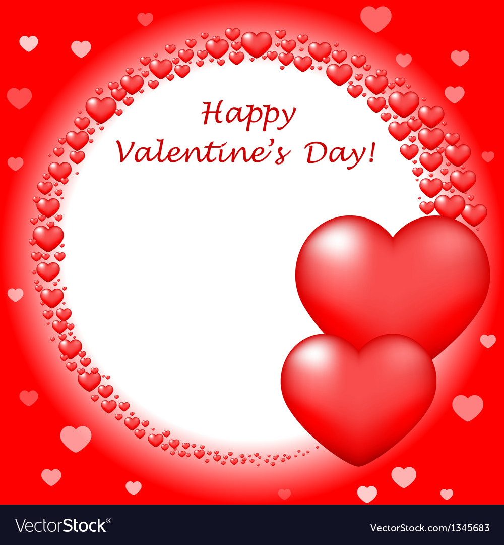 Happy valentins day card with red hearts vector | Price: 1 Credit (USD $1)