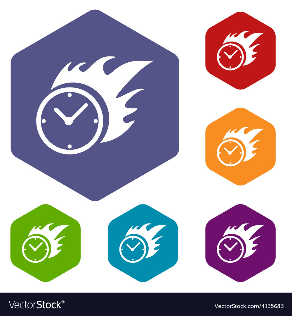 Hot clock rhombus icons vector | Price: 1 Credit (USD $1)