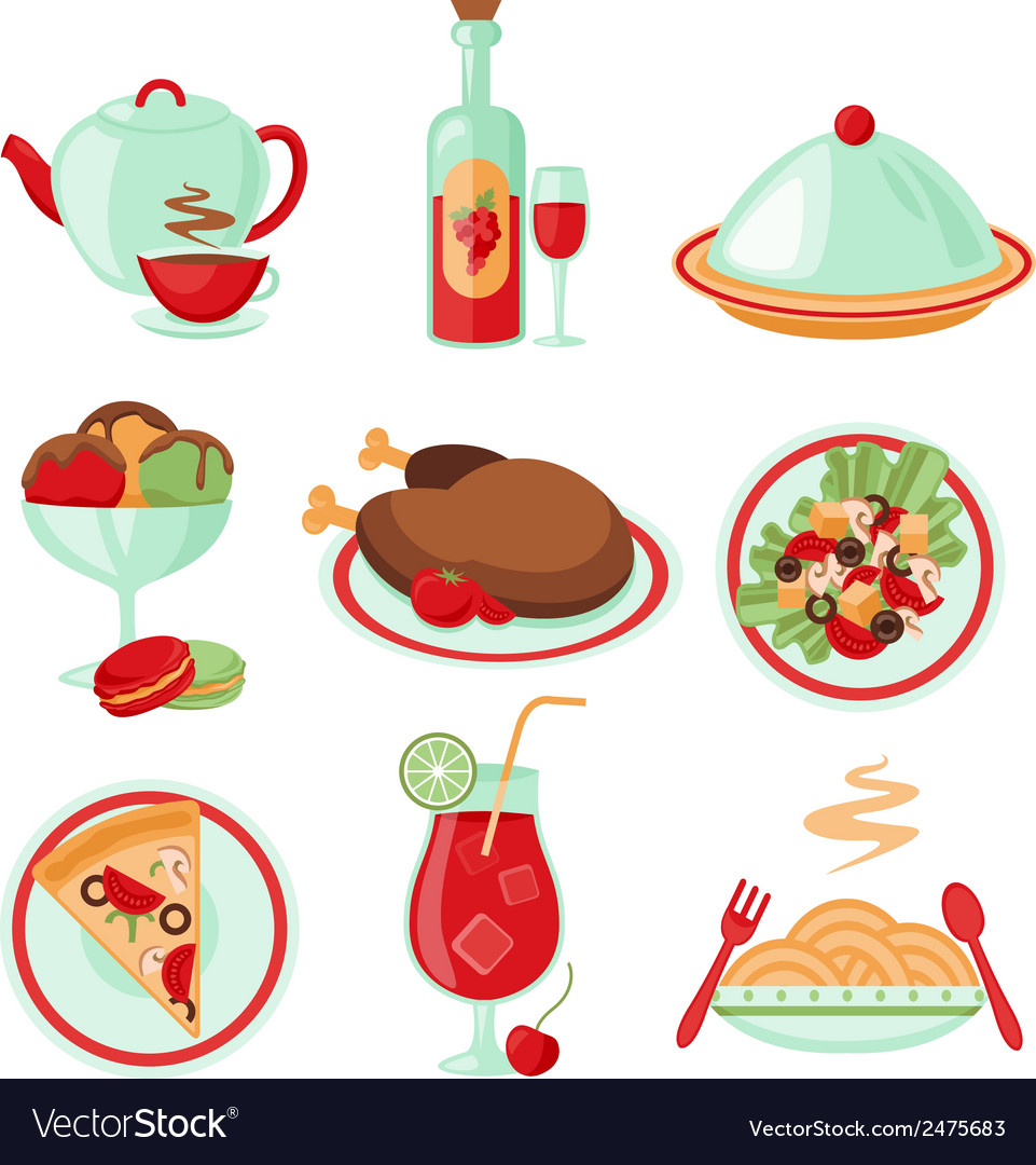 Restaurant food icons vector | Price: 1 Credit (USD $1)