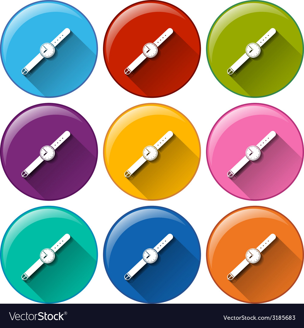 Rounded buttons with watches vector | Price: 1 Credit (USD $1)