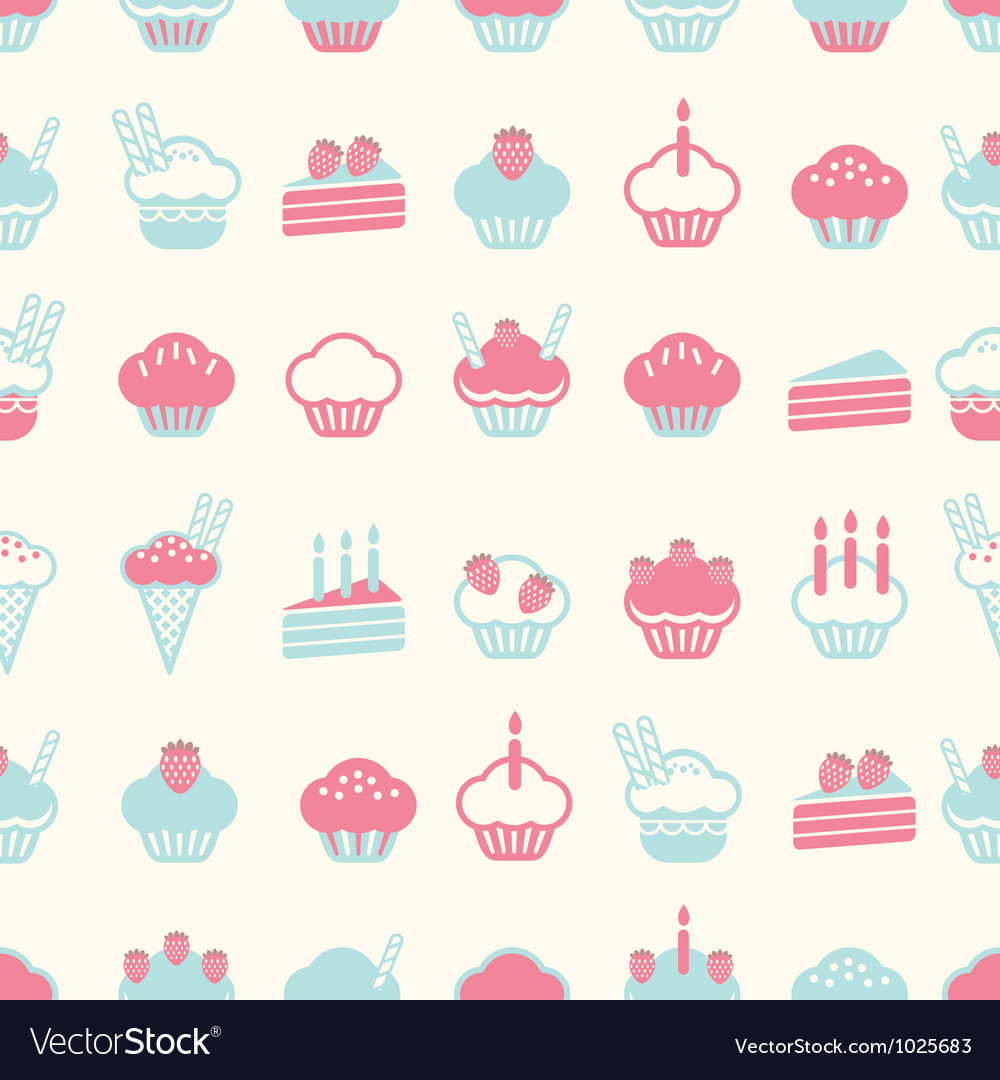 Seamless cake pattern soft vintage color style vector | Price: 1 Credit (USD $1)