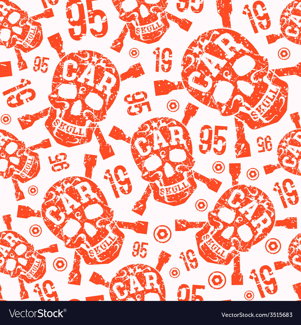 Seamless pattern with image of skull vector | Price: 1 Credit (USD $1)