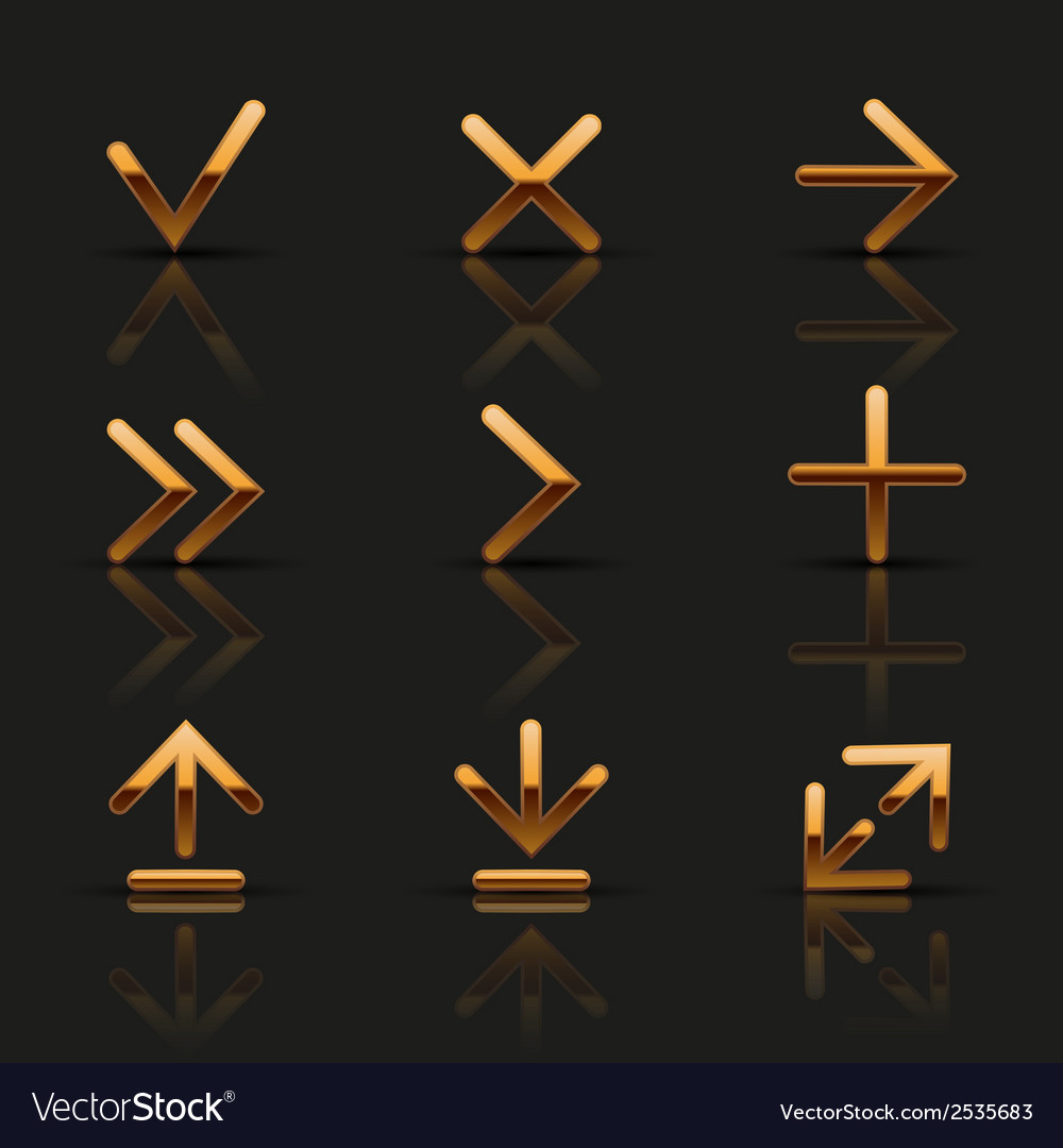 Set of golden icons vector | Price: 1 Credit (USD $1)