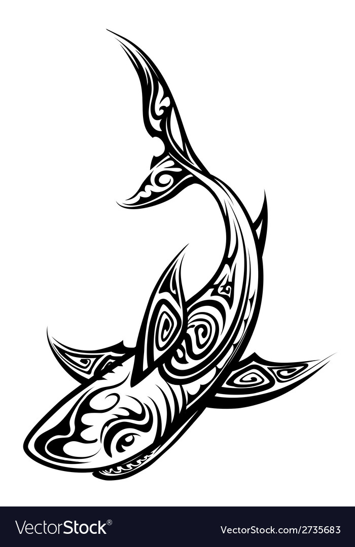 Shark polynesian tattoo vector | Price: 1 Credit (USD $1)