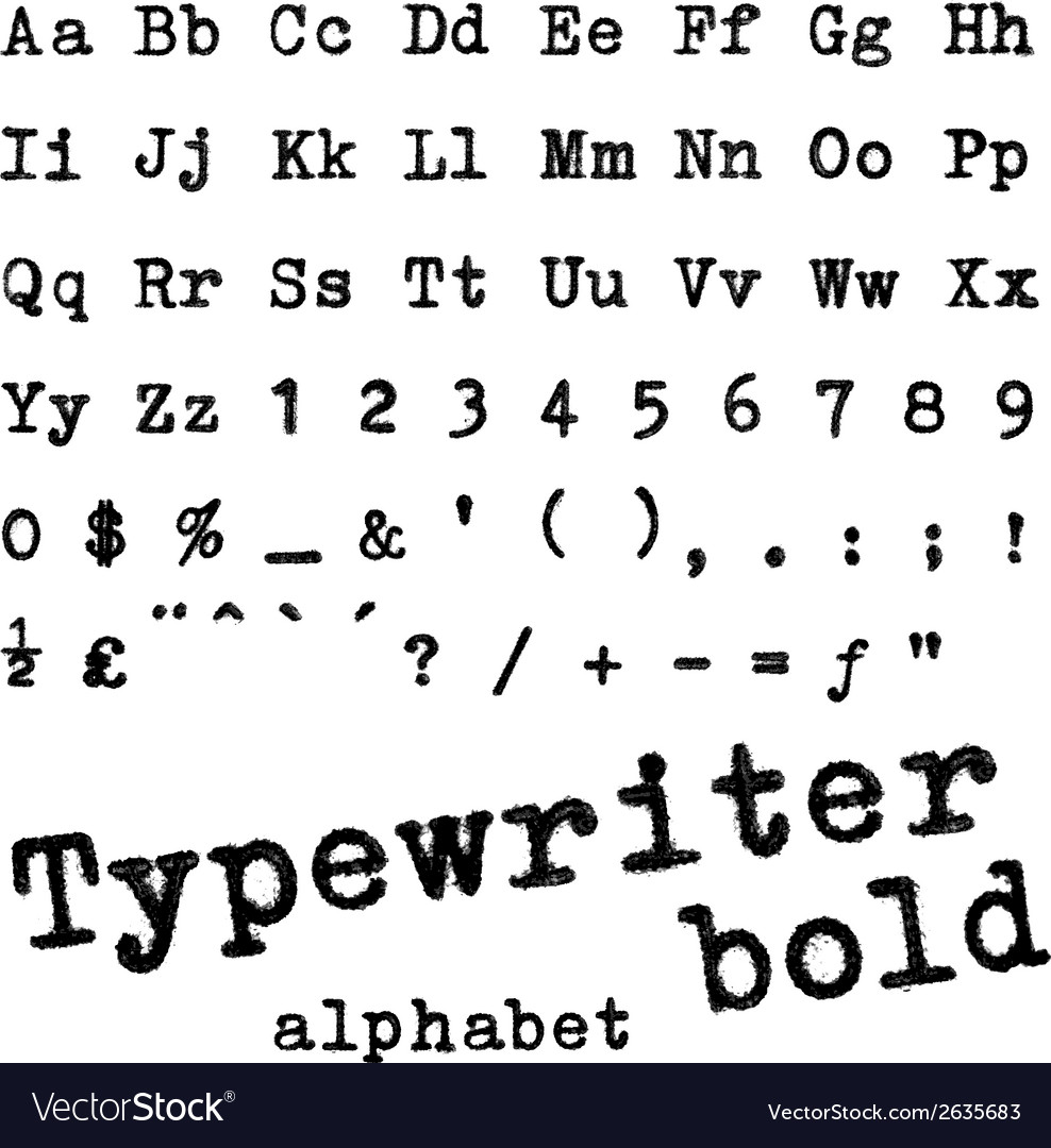 Typewriter bold alphabet vector | Price: 1 Credit (USD $1)