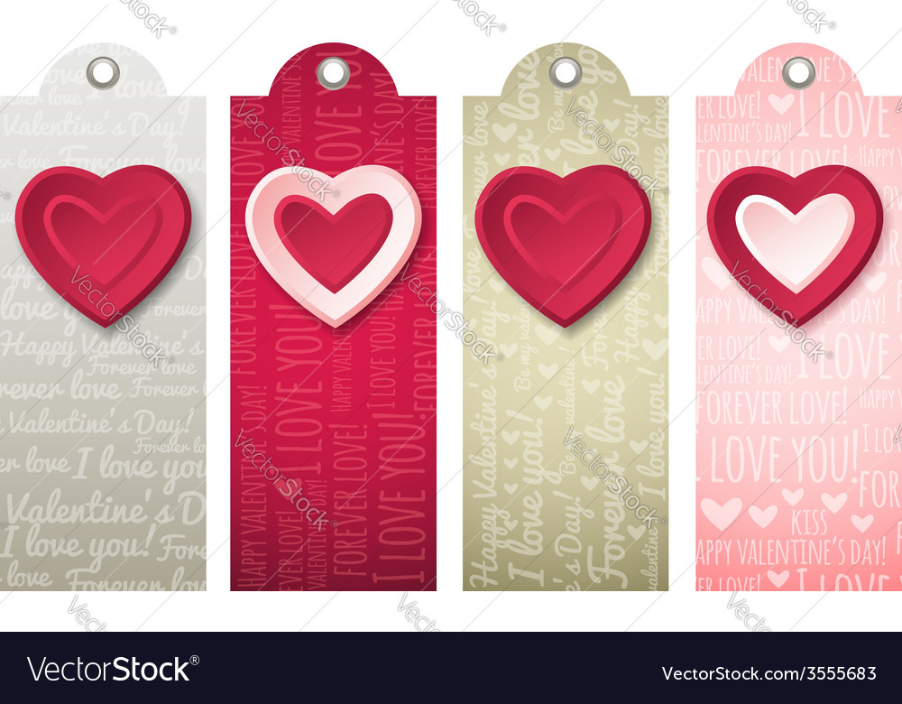 Valentines labels with decorative hearts vector | Price: 1 Credit (USD $1)
