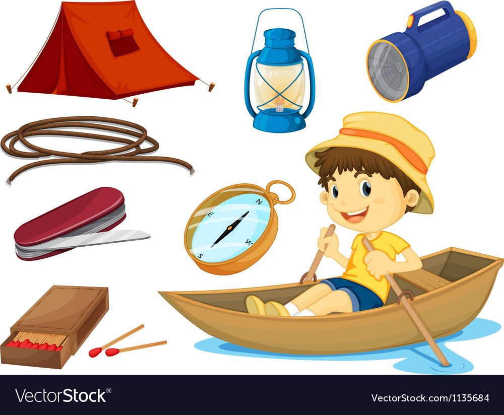 A boy and various objects of camping vector | Price: 1 Credit (USD $1)