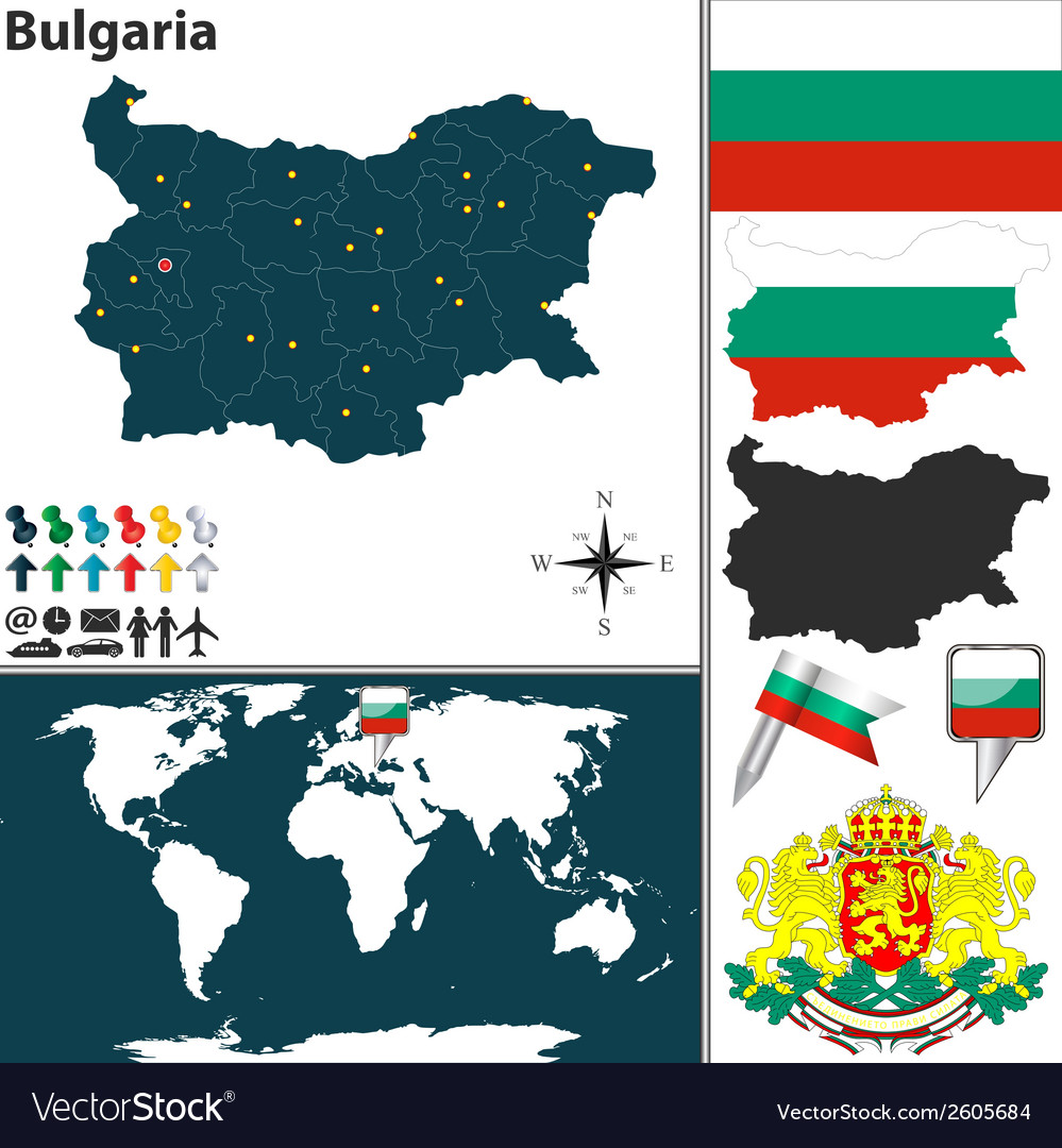 Bulgaria map world vector | Price: 1 Credit (USD $1)