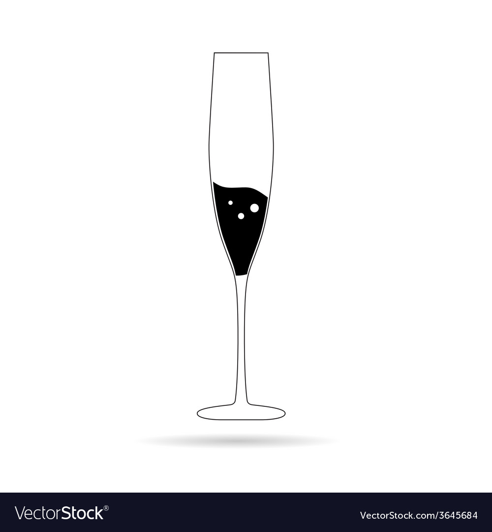 Champagne in a glass vector
