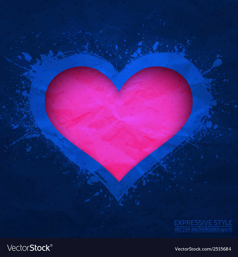 Creased old blue paper with cut pink heart vector | Price: 1 Credit (USD $1)
