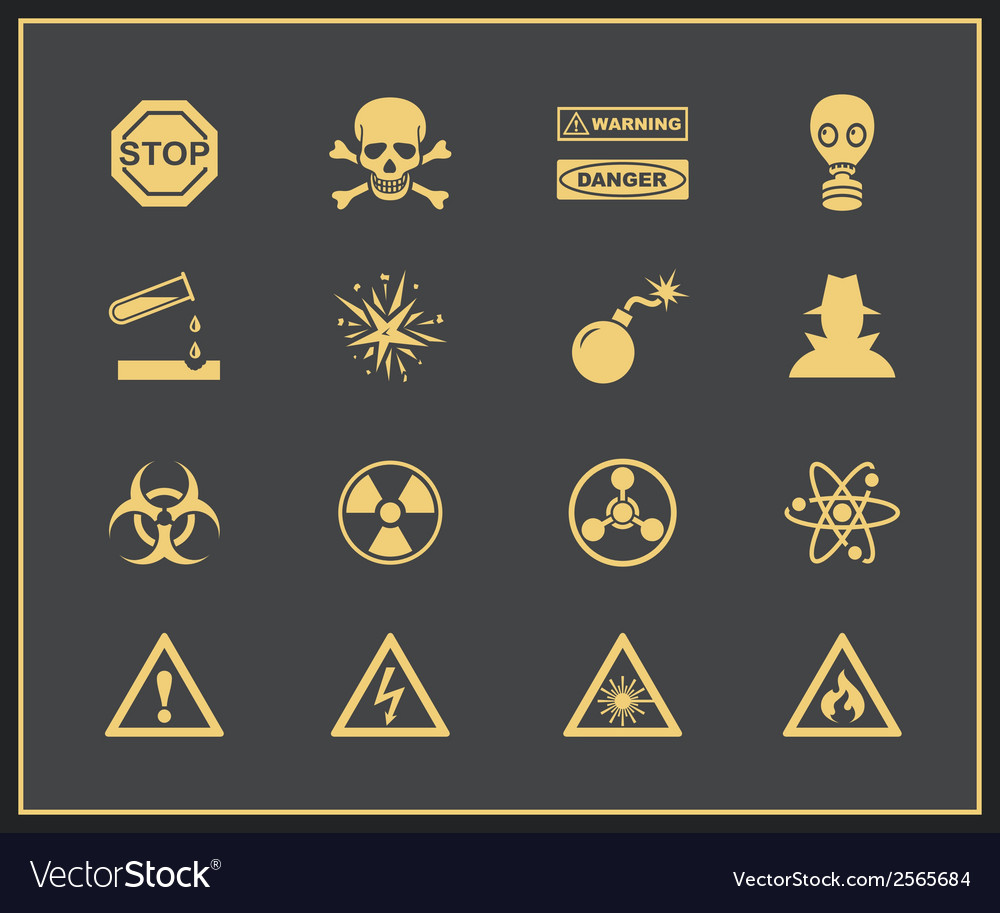 Danger and warning icons vector | Price: 1 Credit (USD $1)
