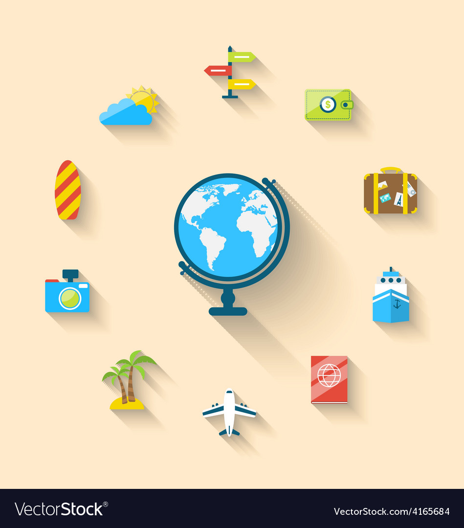 Flat set icons of globe and journey vacation vector | Price: 1 Credit (USD $1)
