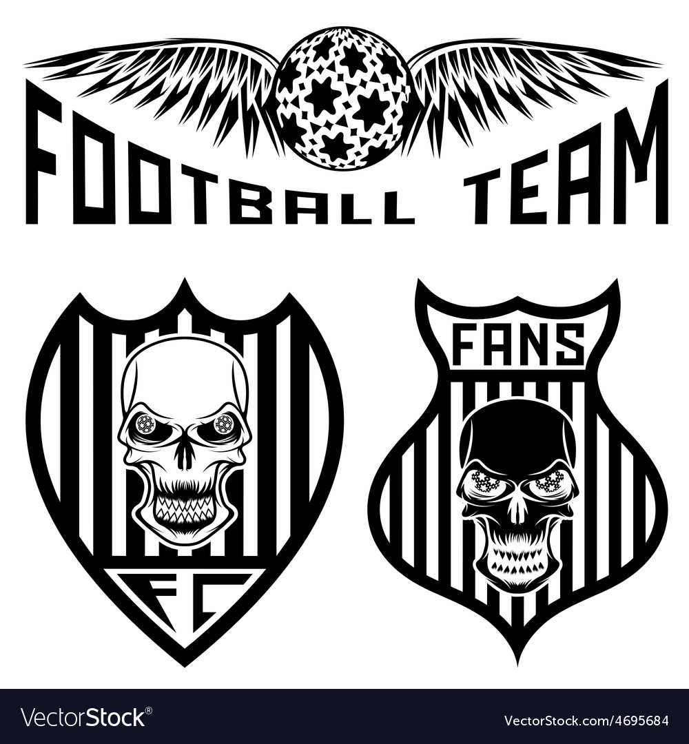 Football team crests set with wings and skulls vector   Price: 1 Credit (USD $1)