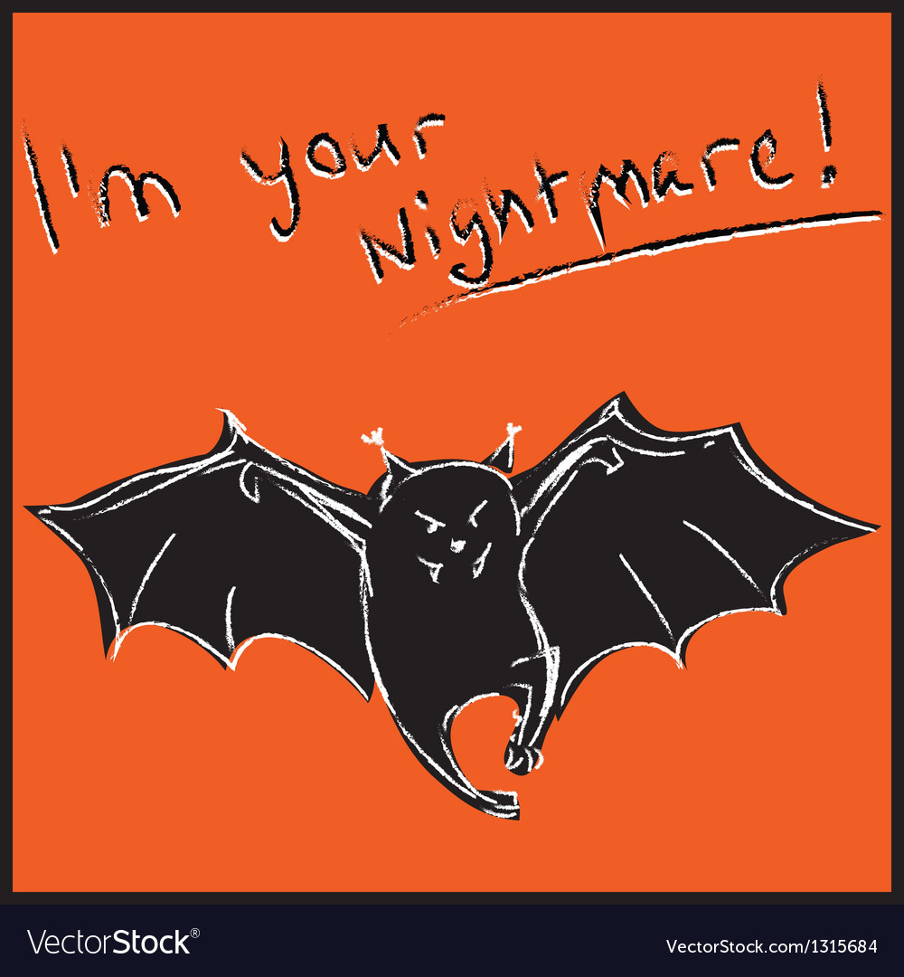 Funny bat with text halloween card vector | Price: 1 Credit (USD $1)