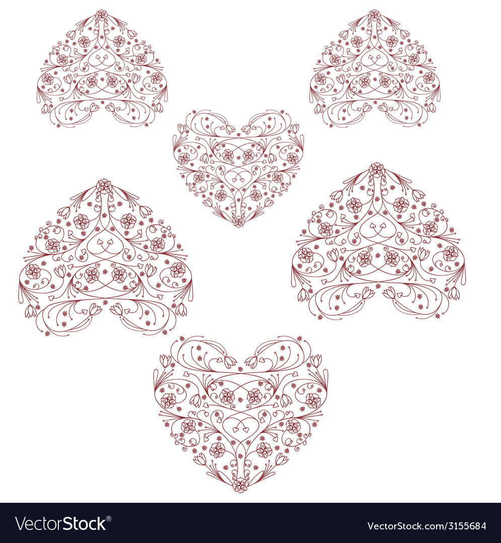 Heart print vintage heart design graphic vector | Price: 1 Credit (USD $1)
