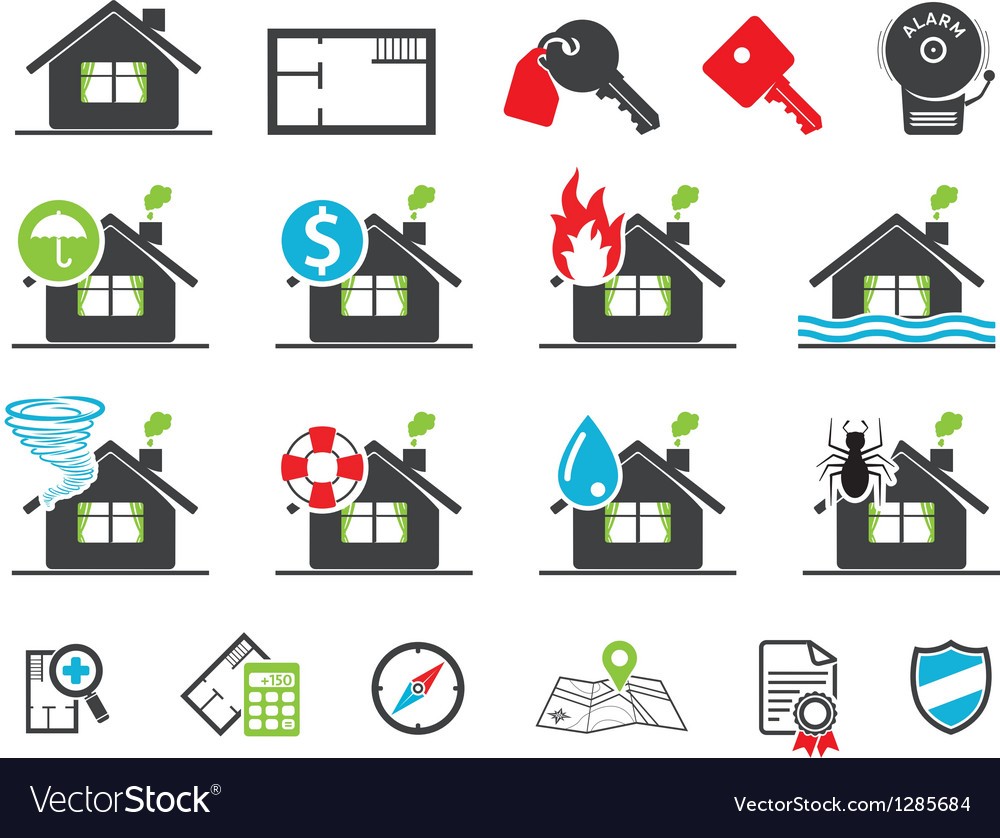 Insurance icons vector | Price: 1 Credit (USD $1)