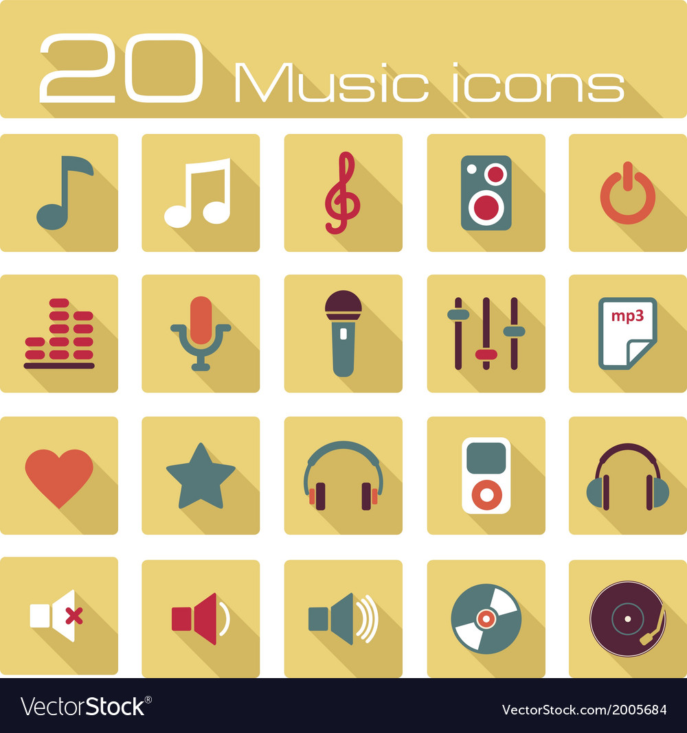 Music icons set vector   Price: 1 Credit (USD $1)