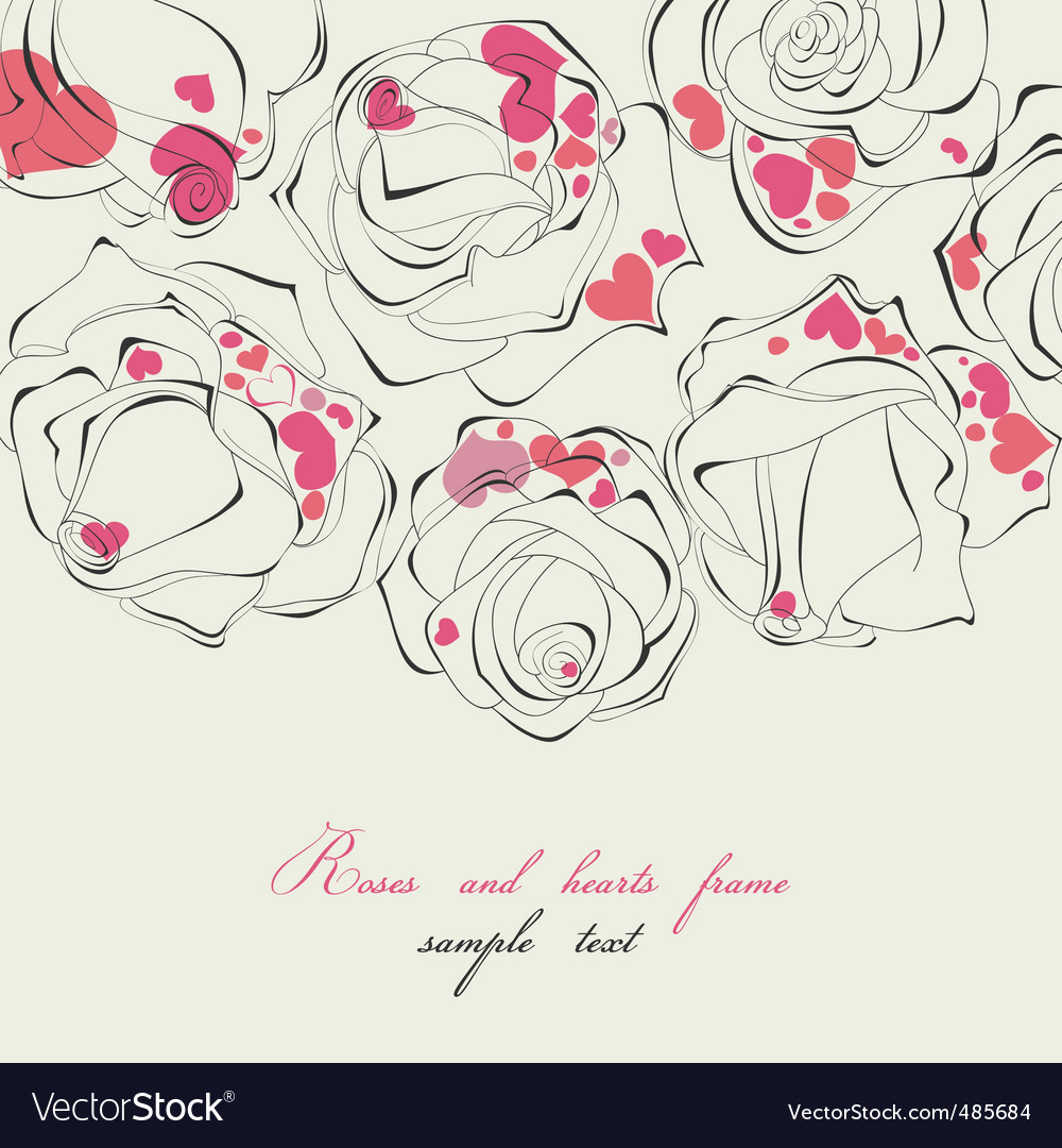 Roses and hearts frame vector | Price: 1 Credit (USD $1)
