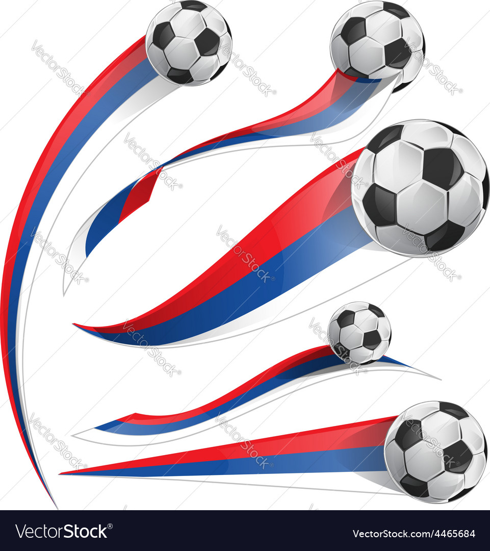 Russian flag set with soccer ball vector | Price: 1 Credit (USD $1)